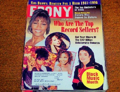 Ebony Magazine June, 1996 Michael Jackson, Prince, Mariah Carey: Top Record Sellers