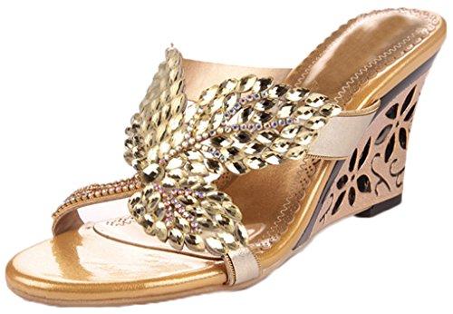 Lizform Nuovo Arrivo Peep Toe Sandalo Con Zeppa Glittery In Pelle Con Borchie In Argento Con Plateau Con Tacco Sul Sandalo Oro
