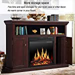 JAMFLY Electric Fireplace Mantel TV Stand with Log Realistic Flame Heater Stone 500W 1500W from JAMFLY