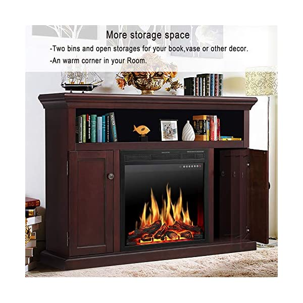 "JAMFLY Electric Fireplace TV Stand Wood Mantel for TV Up to 55"", Media Entertainment Center Fireplace Console Cabinet w/LED Flames, Storage Bin, Touch Screen,Remote Control, 750W-1500W, Dark Espresso"