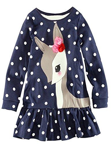Yushangtong-au Bébé Filles À Pois Manches Longues Cerf Robe Modèle T-shirt Long (6t)