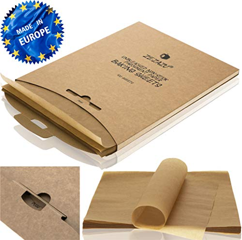 ZeZaZu Parchment Paper Sheets for Baking - MADE IN EUROPE - Precut 12x16 inch (100 Sheets) -RECLOSABLE PACK- Exact Fit for Half-Sheet Baking Pans, Unbleached, Non-stick, Dual-Sided Siliconized Coating ()