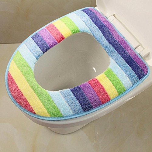 Toilet Seat - Toilet Seat Cover Washable Bathroom Overcoat Rainbow Striped Warm Mat Cushion - Toilet Caps Vera Hinges Tank Disposable Yellow Capscrew Cover White Coral Purple American Sticker ()
