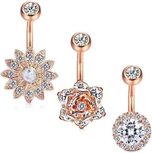 Jstyle 3 Pcs 14G Stainless Steel Belly Button Rings Barbell Navel Rings Bar for Women CZ Flower Body Piercing