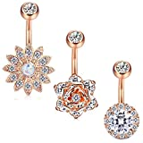 rose belly button rings - Jstyle 3 Pcs 14G Stainless Steel Belly Button Rings Barbell Navel Rings Bar for Women CZ Flower Body Piercing RSG
