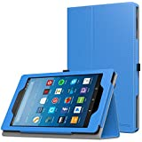 MoKo Case for All-New Amazon Fire HD 8 Tablet (7th and 8th Generation, 2017 and 2018 Release) - Slim Folding Stand Cover for Fire HD 8, Blue (with Auto Wake/Sleep)