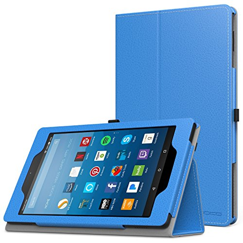 MoKo Case for All-New Amazon Fire HD 8 Tablet (7th Generation, 2017 Release Only) - Slim Folding Stand Cover for Fire HD 8, BLUE (with Auto Wake / Sleep)