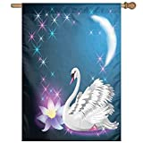 HUANGLING Magic Lily And Fairy Swan At Night Swimming In Lake Under Moon And Stars Home Flag Garden Flag Demonstrations Flag Family Party Flag Match Flag 27''x37''