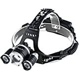 LED Headlamp Headlight Flashlight - Zoomable Super Bright , 4 Modes 3 XM-L CREE T6 LED, Rechargeable Batteries, Adjustable - Outdoor Hiking Camping Riding Fishing Hunting