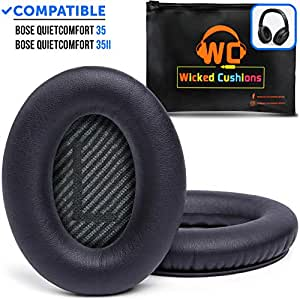 Wicked Cushions Premium Bose QC35 Headphones Replacement Ear Pads - Memory Foam Pads Adapt to Your Ears - Fits QuietComfort 35 & 35ii / SoundTrue 2 AE/SoundLink 2 AE Over-Ear Headphones Only | Black