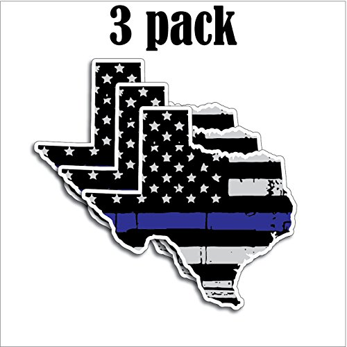 3 Pack of State of Texas Shaped Thin Blue Line Police Officer Tattered BLM American Flag Grunge Style Vinyl Decal Sticker Car Truck 5 x 4.7