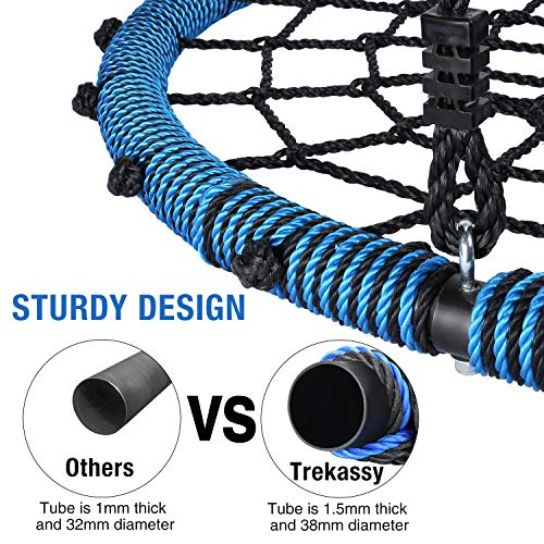 Trekassy 660lb Spider Web Swing 40 inch for Tree Kids with Steel Frame and 2 Hanging Straps by Trekassy (Image #1)