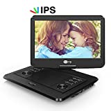 CUtrip 14 Inch HD Portable DVD Player IPS Screen with Rechargeable Battery, Swivel Screen, SD Card Slot and USB Port – Black