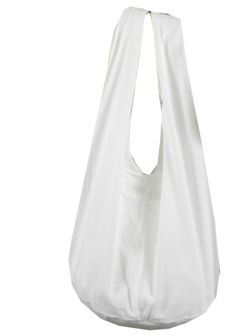 BTP! Thai Monk Buddha Cotton Sling Crossbody Messenger Bag Purse Hippie Hobo Solid Large (White XL3)