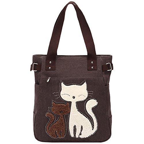 Azbro Women's Cute Cat Print Canvas Shoulder Bag, Coffee One Size (Cat Suite)