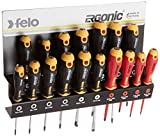 Felo 0715761391 Ergonomic Screwdriver Set With Steel Rack includes Slotted, Square, Phillips & Torx Sizes (17 Piece)
