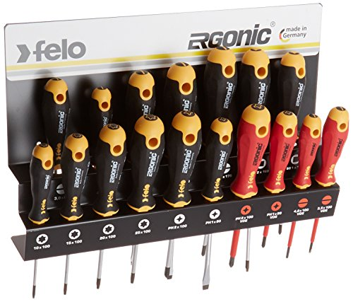 Felo 0715761391 Ergonomic Screwdriver Set With Steel Rack in