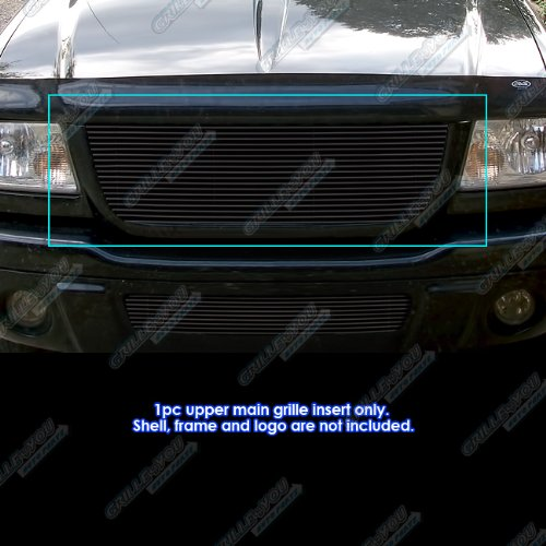 03 Ford Ranger Billet Grille - APS Compatible with 2001-2003 Ford Ranger Edge XLT 4WD Black Billet Grille Insert Open Top Only S18-H42358F