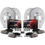Power Stop K4475 Front & Rear Brake Kit with Drilled/Slotted Brake Rotors and Z23 Evolution Ceramic Brake Pads