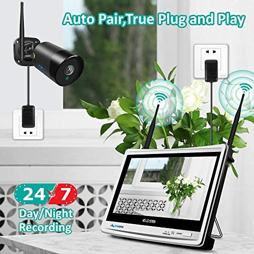 Anakk Security Camera System Wireless with Monitor & 4X HD 2MP WiFi IP Camera Outdoor Waterproof & 1TB HDD NVR,Plug & Play Smart Phone Free App Remote View Motion Detection Email Alert Push 5127oKkX2KL