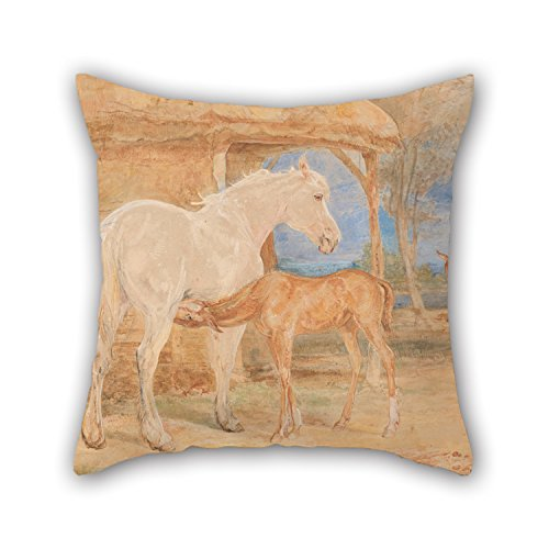 Oil Painting John Frederick Lewis - Gray Mare And A Chestnut Foal Throw Pillow Case 16 X 16 Inches / 40 By 40 Cm Best Choice For Bar Seat Son - Foal Throw
