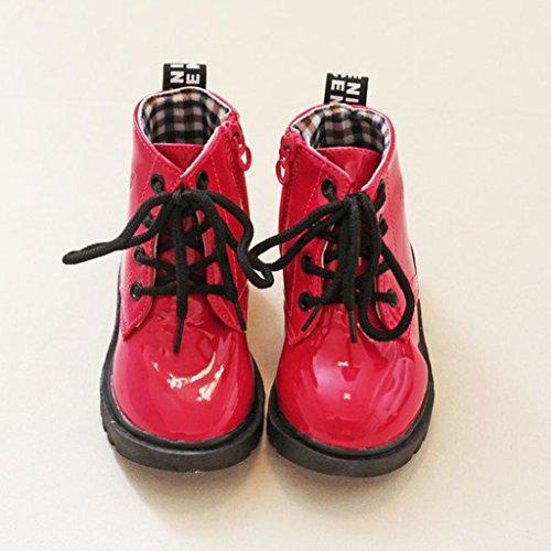 Eagsouni® Mädchen Jungen Klassischer Martin Stiefel / PU Leder Ankle Boots / Wasserdicht Kurz Schlupfstiefel Rot
