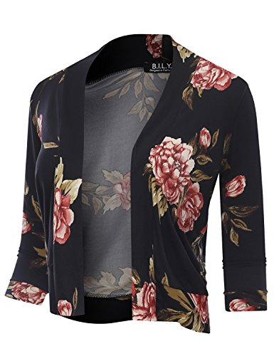 BH B.I.L.Y USA Women's Classic Open Front Cropped 3/4 Sleeve Floral Print Cardigan 70114 Rose XX-Large