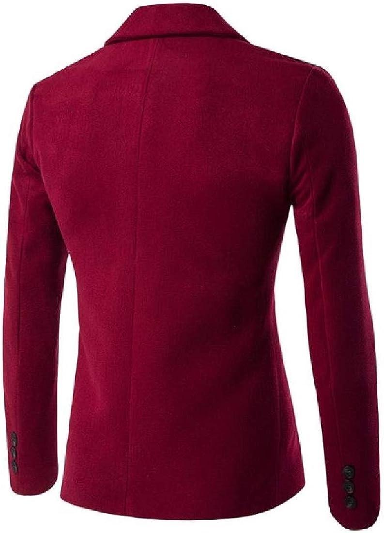 Yusky Mens Woolen Formal Tailored Fit Casual Fall Winter Outwear Coat