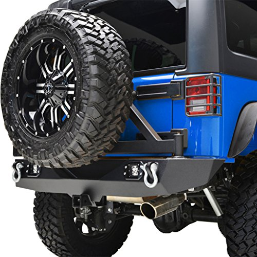 E-Autogrilles Jeep Wrangler JK Rear Bumper with Tire Carrier and LED Lights