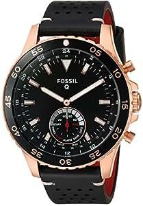 Fossil Q híbrida Smartwatch Hombre crewmaster Negro Piel ...