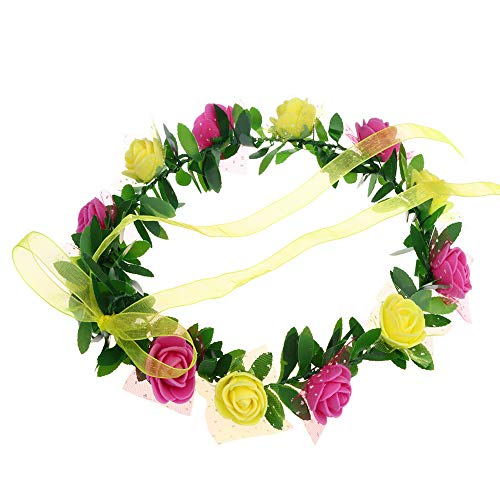Topgee Floral Flower Wedding Hair Wreaths Headband Hair Band Flower Crown Headband Floral Hairband Festival Wedding Accessories Headdress, Multi Color