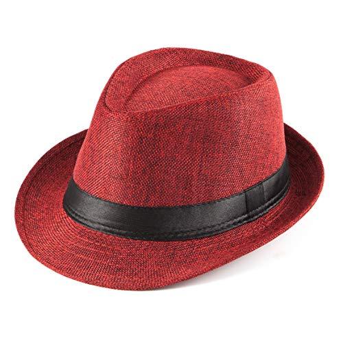 Mens Sun Hat Beach Hat - Women Red Hat for Men Fedoras Mens Straw Sun Hat Cap -