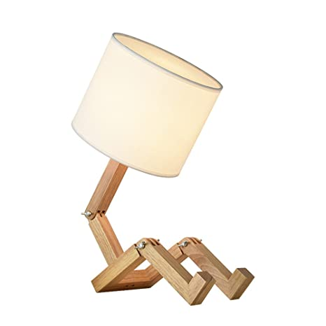 European Style Table Lamp Wooden Bedside with Fabric Lampshade ...