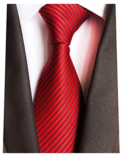 (MENDENG New Mens Stripe Paisley 100% Silk Necktie Classic Striped Formal Ties (One Size, Red-Striped))