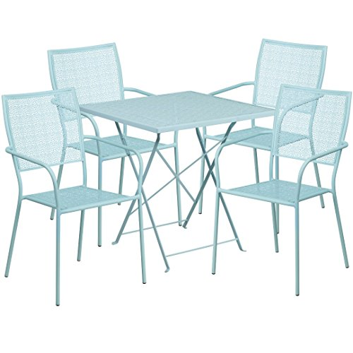 MFO 28'' Square Sky Blue Indoor-Outdoor Steel Folding Patio Table Set with 4 Square Back Chairs