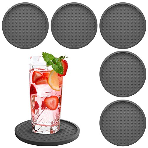Table Drink Coasters Silicone 6 Pack with Good Grip on any Tabletop or Bar, Prevents Furniture Damage, Large Modern Soft Rubber Place Mat for Beverage and Liquor Drinking Glasses, Black