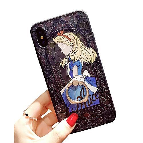 for iPhone XR Protective Skins,Princess Alice in Wonderland Soft Frame/Hard Back Embossed Craft/Ultra-Light Protective Shell Case
