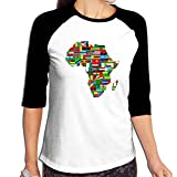 Fuucc-6 Women Africa Flags 3/4 Sleeve Long Raglan Baseball T-Shirts
