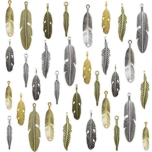 50pcs Mixed Craft Supplies Feather Charms Pendants for Crafting, Jewelry Findings Making Accessory for DIY Necklace Bracelet