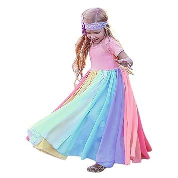 Fashion Kids Girls Rainbow Splice Princess Pageant Gown Birthday Party Dresses