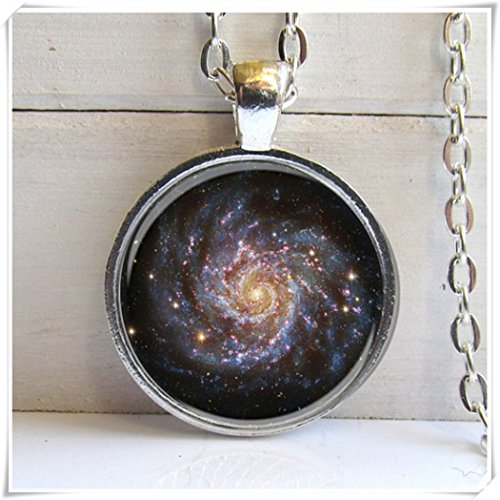 - no see long time Galaxy Pendant, Spiral Galaxy Necklace, Nebula Jewelry,Dome Glass Jewelry, Pure Handmade.