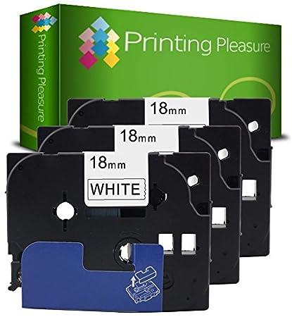 18mm x 8m laminato Printing Pleasure 5 x TZe-FX242 TZ-FX242 Rosso su Bianco Nastro flessibile compatibile per Brother/P-Touch Stampanti per etichette