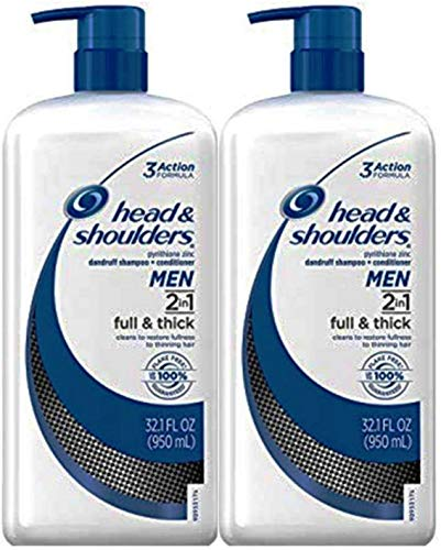 Head and Shoulders Full and Thick 2-in-1 Anti-Dandruff Shampoo + Conditioner 32.1 Fl Oz for Fighting Hair Thinning or Hair Loss Due to Damage and Breakage Pack of 2