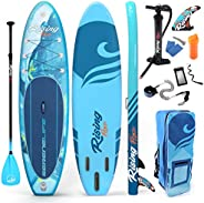 SereneLife Inflatable Stand Up Paddle Board (6 Inches Thick) with Premium SUP Accessories & Carry Bag   Wi