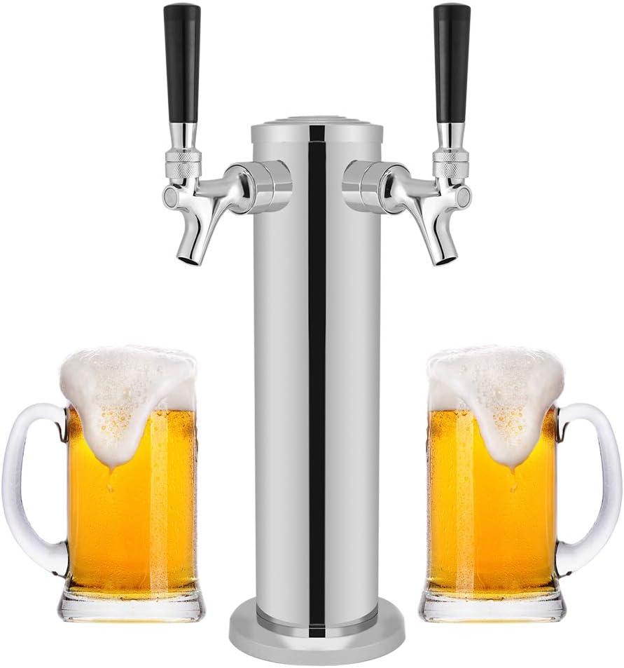 Acogedor torre de cerveza de acero inoxidable (grifos dobles) para uso en el hogar, bar, pub