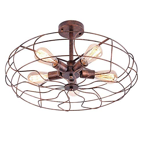 NIUYAO Vintage Industrial Fan Style Wrought Iron Semi Flush Mount Ceiling Pendant Light Chandelier Rustic Lighting Fixture with 5 Lights Rust Finish ()