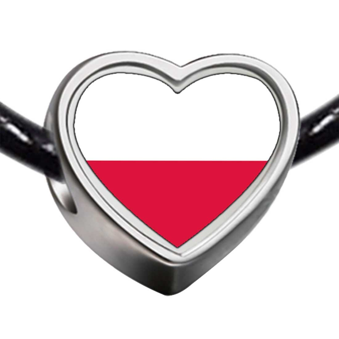 GiftJewelryShop Silver Plated Poland flag Photo Heart Charm Beads Bracelets European Bracelets Compatible