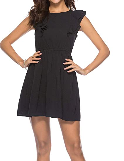 e3f5cf90ab6f MocL Women's Elastic Waist Solid Casual Sleeveless Round Neck Ruffle Trim Dress  Black S
