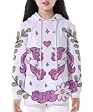 NAYINLAN Hoodie for Kids Digital Printed Pullover Hoody Sweatshirt,Sweetheart Unicorn,XL