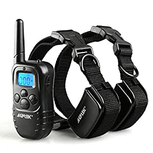 AGPtek 330 Yard Rechargeable LCD Shock & Vibrate Remote Dog Collar Training Kit for 2 Dogs